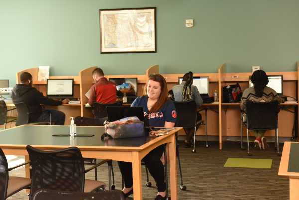 Students in library at computers